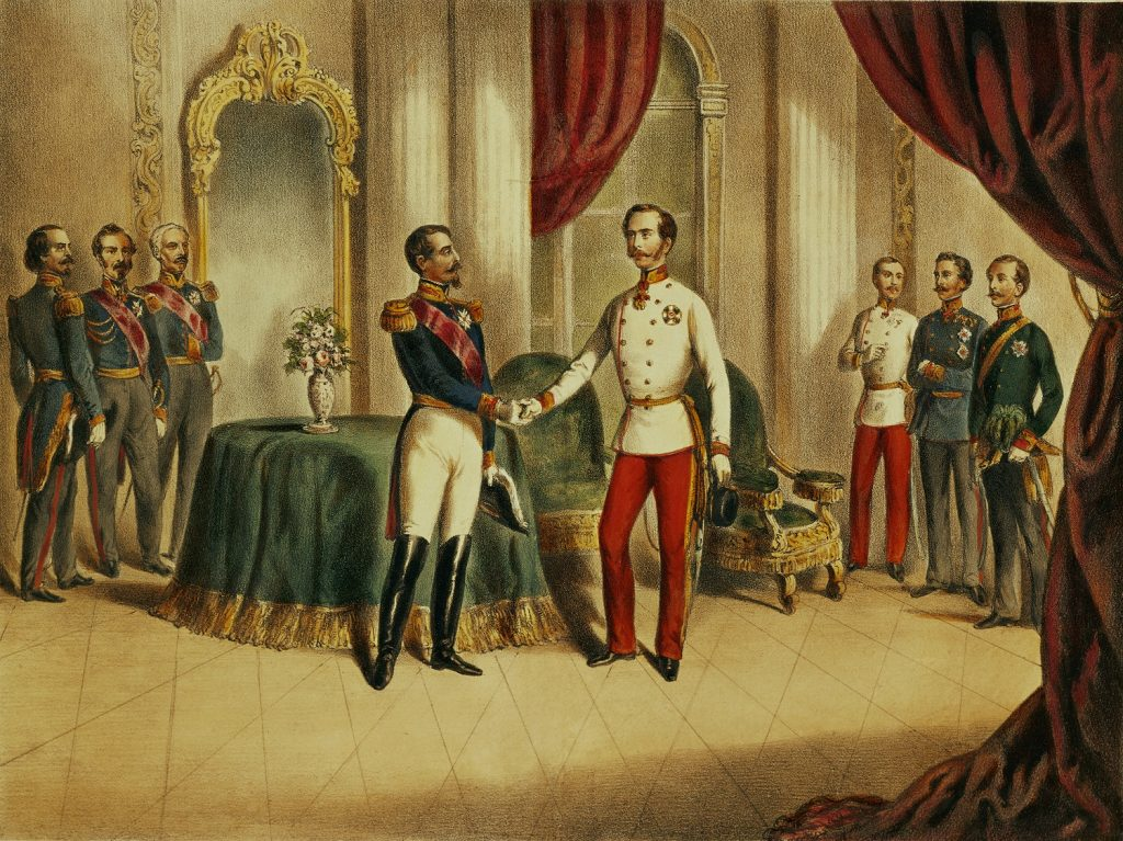 AUSTRIA - JANUARY 01:  Meeting between Emperor Franz Josef I and Emperor Napoleon III in Villafranca, to sign an armistice (July 12, 1859) and end the Italian campaign.  (Photo by Imagno/Getty Images) [Zusammenkunft zwischen Kaiser  Franz Josef I. und Kaiser  Napoleon III.  in Villafranca, zur Unterzeichnung eines Waffenstillstandes. 12.Juli  1859.]