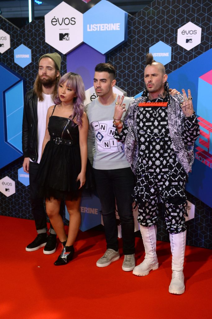 ROTTERDAM, NETHERLANDS - NOVEMBER 06:  (L-R) Jack Lawless, JinJoo Lee, Joe Jonas and Cole Whittle of DNCE attend the MTV Europe Music Awards 2016 on November 6, 2016 in Rotterdam, Netherlands.  (Photo by Anthony Harvey/Getty Images for MTV)