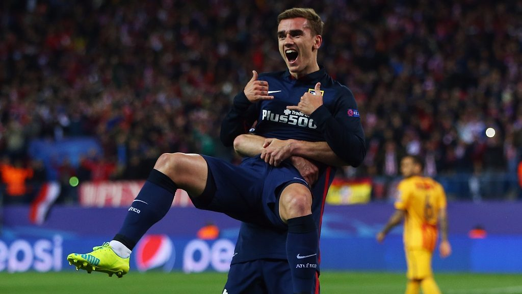 MADRID, SPAIN - APRIL 13: Antoine Griezmann of Atletico celebrates his team's first goal with team mate Gabi during the UEFA Champions league Quarter Final Second Leg match between Club Atletico de Madrid and FC Barcelona at Vincente Calderon on April 13, 2016 in Madrid, Spain.  (Photo by Alex Grimm/Bongarts/Getty Images)