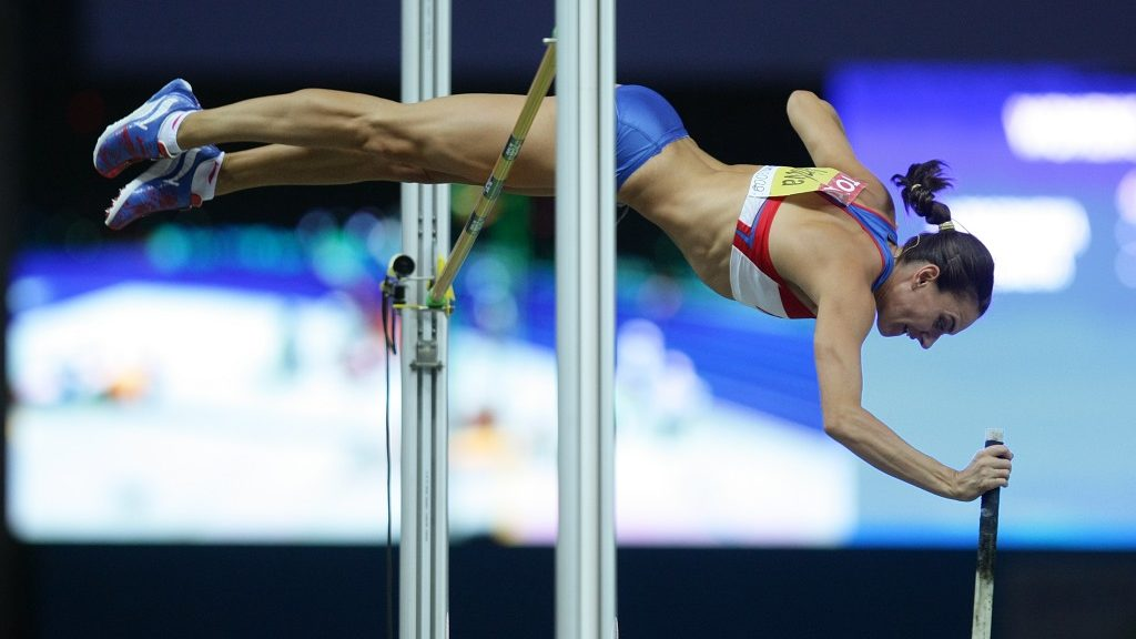 Jelena Isinbajewa (Elena Isinbaeva) of Russia at the women's pole vault competition during the 2009 IAAF World Championships at the Olympic Stadium in Berlin. Germany. (Photo by sampics/Corbis via Getty Images)