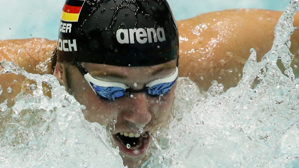 MOSCOW, RUSSIA - SEPTEMBER 4, 2016: Germany's Marco Koch competes at the third leg of the 2016 series of the FINA/airweave Swimming World Cup in Olimpiysky (Olympic) Sports Complex. Anton Novoderezhkin/TASS (Photo by Anton NovoderezhkinTASS via Getty Images)
