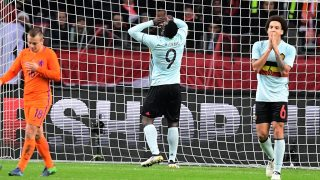 Belgium's fprward Romelu Lukaku (C) reacts after missing a goal during a friendly football match between The Netherlands and Belgium at the Amsterdam Arena in Amsterdam on November 9, 2016.    / AFP PHOTO / EMMANUEL DUNAND