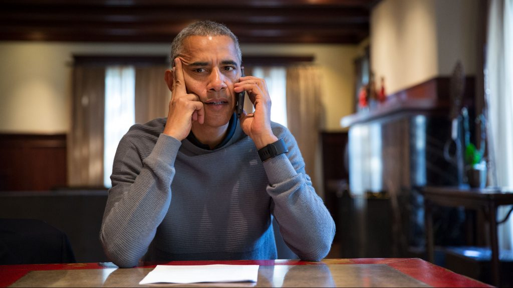 President Barack Obama talks on the phone with FEMA Administrator Craig Fugate to receive an update on Hurricane Matthew, Oct. 8, 2016. The President spoke from his home in Chicago, Ill.(Official White House Photo by Pete Souza)