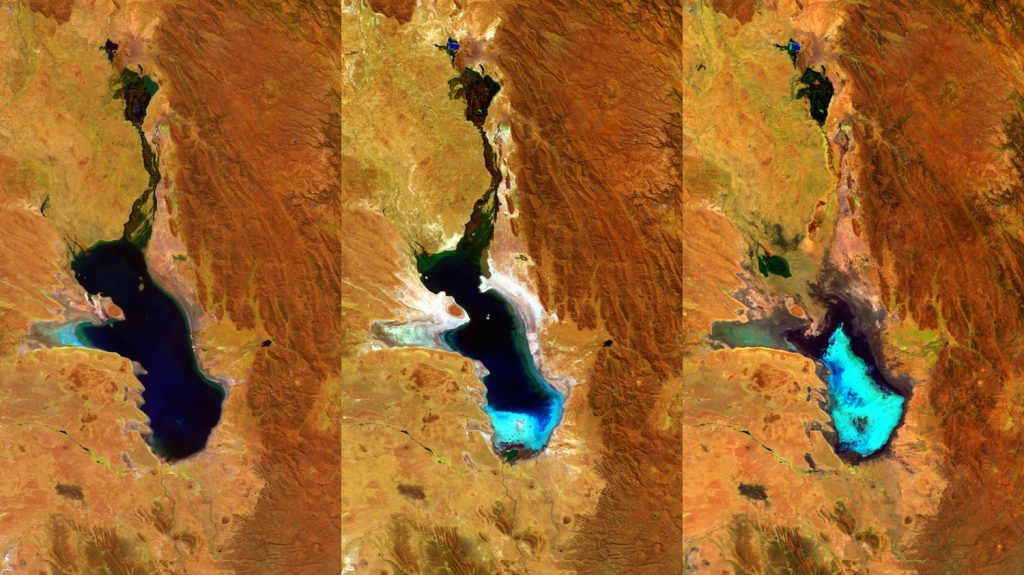 "Handout picture released by the European Space Agency of a photo composition taken by ESAís Proba-V minisatellite showing as the second largest lake in Bolivia gradually dried up. Lake Poopo was declared fully evaporated in 2015. The three 100-m resolution Proba-V images shown here were taken on 27 April 2014, 20 July 2015 and 22 January 2016 respectively. Occupying a depression in the Altiplano mountains, the saline Lake Poopo has in the past spanned an area of 3000 square kilometres. The last time Lake Poopo evaporated was in 1994, and it took several years before the water returned.  AFP PHOTO/EUROPEAN SPACE AGENCY   --- RESTRICTED TO EDITORIAL USE - MANDATORY CREDIT ""AFP PHOTO / EUROPEAN SPACE AGENCY"" - NO MARKETING NO ADVERTISING CAMPAIGNS - DISTRIBUTED AS A SERVICE TO CLIENTS - GETTY OUT / AFP PHOTO / ESA/Belspoñproduced by VITO / --"