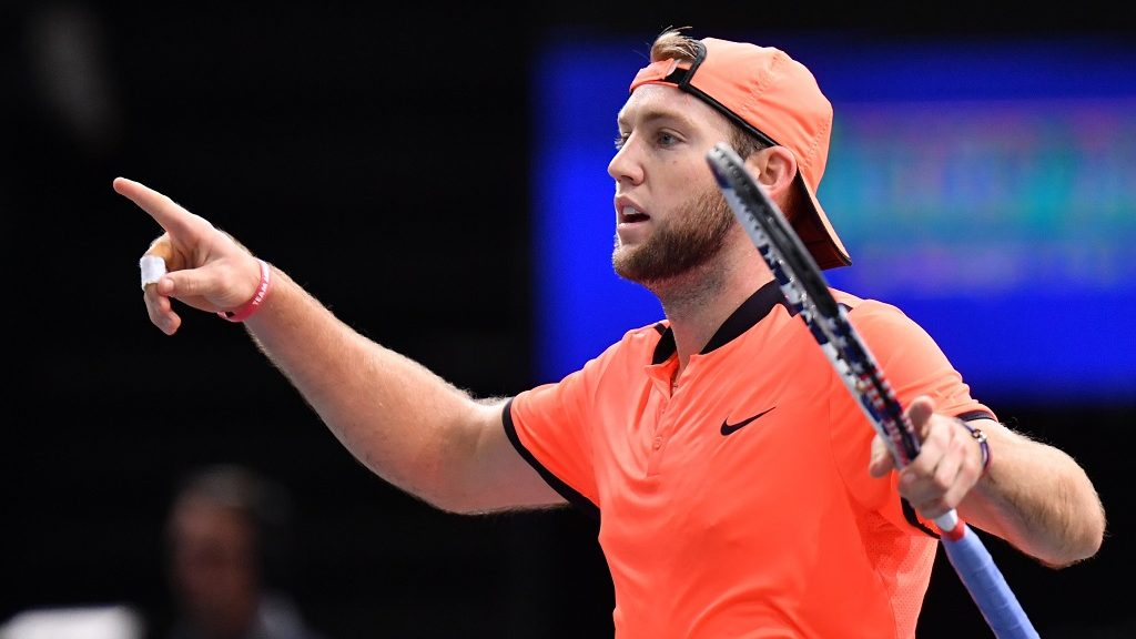 PARIS, FRANCE - NOVEMBER 04: Jack Sock of The United States of America gestures during the quarter-final tennis match against John Isner (not seen) at the ATP World Tour Masters 1000 indoor tournament in Paris on November 4, 2016.  Mustafa Yalcin / Anadolu Agency