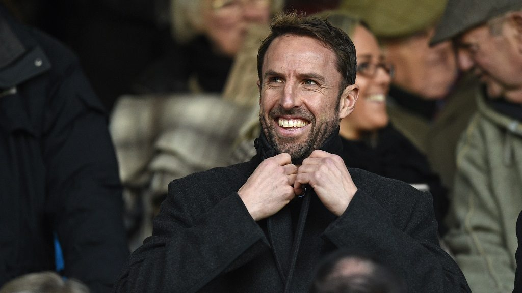 England's Interim manager Gareth Southgate takes his seat for the English Premier League football match between Burnley and Manchester City at Turf Moor in Burnley, north west England on November 26, 2016. / AFP PHOTO / Oli SCARFF / RESTRICTED TO EDITORIAL USE. No use with unauthorized audio, video, data, fixture lists, club/league logos or 'live' services. Online in-match use limited to 75 images, no video emulation. No use in betting, games or single club/league/player publications.  /