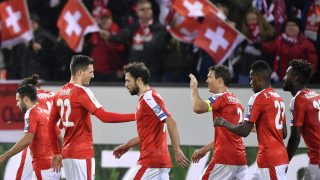 Switzerland's player celebrate after scoring a goal during the FIFA World Cup 2018 Group B qualifying football match between Switzerland and Faroe Islands on November 13, 2016 at the Sportarena Allmend in Lucerne. / AFP PHOTO / FABRICE COFFRINI