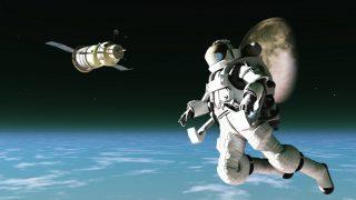 Astronaut and satellite