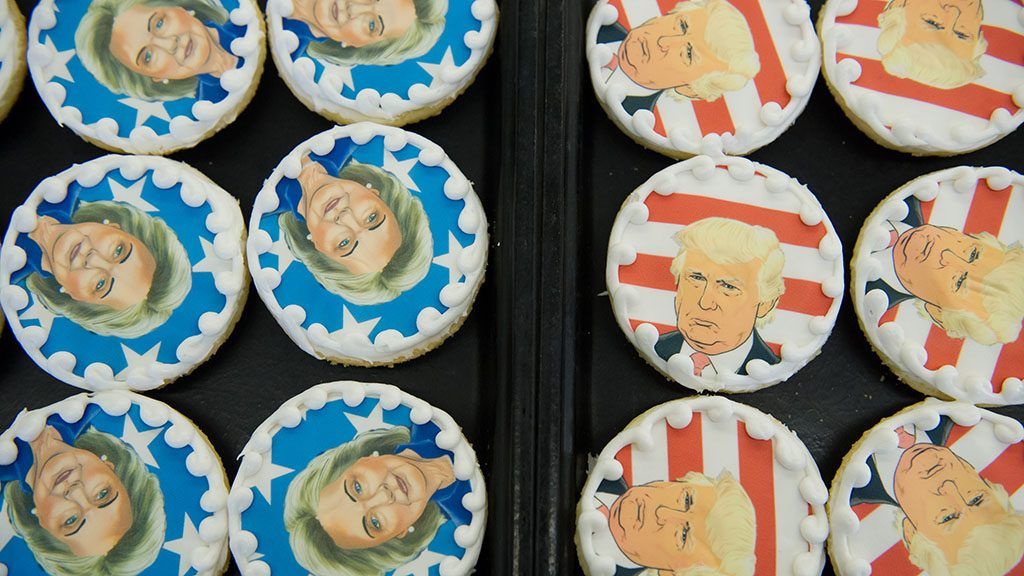 OAKMONT, PA - NOVEMBER 8: Donald Trump and Hillary Clinton cookies are on sale at the Oakmont Bakery on November 8, 2016 in Oakmont, Pennsylvania.  Trump leads the cookie-purchase tally with 63% of the purchases, with a total of 2609 Trump cookies and 1512 Hillary cookies sold as of election day as Americans go to the polls to decide on their next president.  (Photo by Jeff Swensen/Getty Images)