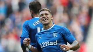 GLASGOW, SCOTLAND - JULY 25: Martyn Waghorn of Rangers celebrates scoring his second goal during the Betfred Cup match between Rangers and Stranraer at Ibrox Stadium on July 25, 2016 in Glasgow, Scotland. (Photo by Ian MacNicol/Getty Images)