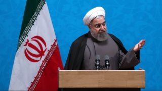 """A handout picture provided by the office of Iranian President Hassan Rouhani on December 6, 2016 shows him delivering a speech during a ceremony marking Student Day at the University of Tehran in the capital. / AFP PHOTO / IRANIAN PRESIDENCY / HO / == RESTRICTED TO EDITORIAL USE - MANDATORY CREDIT """"AFP PHOTO / HO / IRANIAN PRESIDENCY"""" - NO MARKETING NO ADVERTISING CAMPAIGNS - DISTRIBUTED AS A SERVICE TO CLIENTS =="""