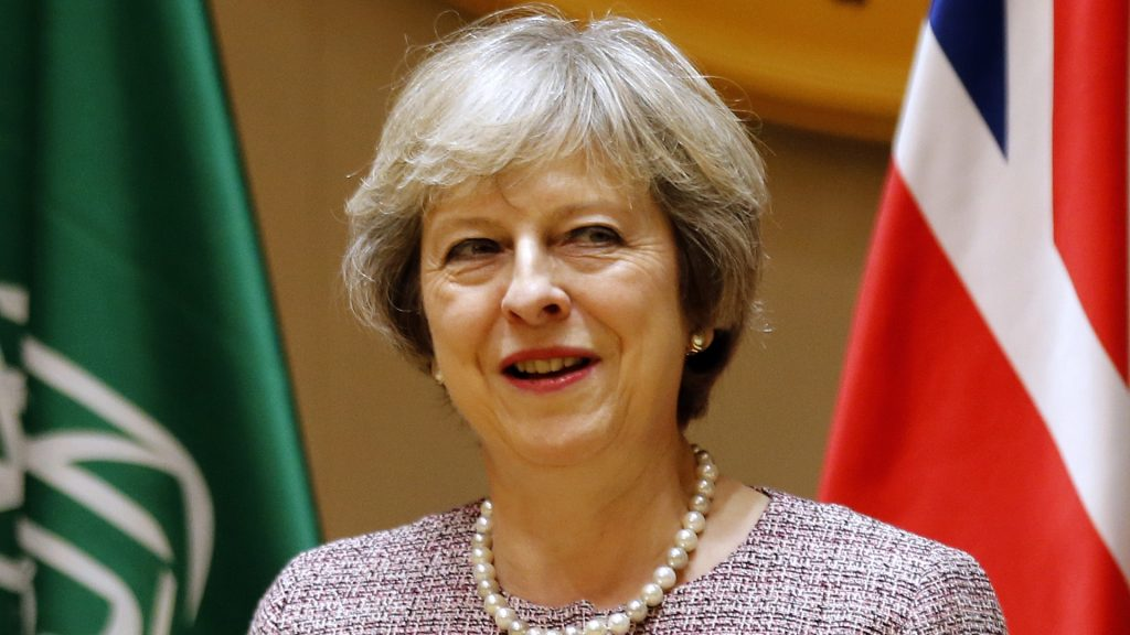 British Prime Minister Theresa May attends a Gulf Cooperation Council (GCC) summit on December 7, 2016, in the Bahraini capital Manama. / AFP PHOTO / STRINGER