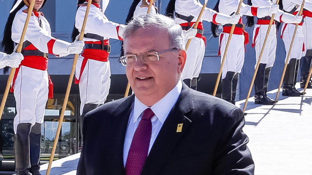 """Handout undated picture released the Brazilian presidency showing Greek ambassador to Brazil, Kyriakos Amiridis (C), leaving after presenting his credentials to Brazilian President Michel Temer during a ceremony in Brasilia on May 25, 2016. Amiridis was last seen on the night of December 26, 2016 near Rio de Janeiro while vacationing with his family and has since been missing, police said on December 29. """"A case has been opened to investigate the ambassador's disappearance,"""" Rio state police said in a statement. / AFP PHOTO / BRAZILIAN PRESIDENCY / Marcos CORREA / RESTRICTED TO EDITORIAL USE - MANDATORY CREDIT """"AFP PHOTO / BRAZILIAN PRESIDENCY / MARCOS CORREA"""" - NO MARKETING NO ADVERTISING CAMPAIGNS - DISTRIBUTED AS A SERVICE TO CLIENTS"""