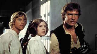 Star Wars Episode IV - A New Hope (1977) / Star Wars (1977)   La Guerre des étoiles   Pers: Mark Hamill, Carrie Fisher, Harrison Ford   Dir: George Lucas   Ref: STA039NJ   Photo Credit: [ Lucasfilm/20th Century Fox / The Kobal Collection ]   Editorial use only related to cinema, television and personalities. Not for cover use, advertising or fictional works without specific prior agreement