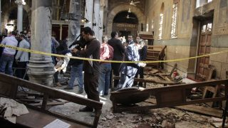 EGYPT, Cairo: Scene inside the church after an explosionat Egypt's main Coptic Christian Cathedralat about 10 am on Sunday, December 11, 2016 killed at least 25 people and injured many others.Hundreds protest against security failures following the attack, demanding Interior Minister Magdy Abdel-Ghaffar's departure . - Suhail Saleh