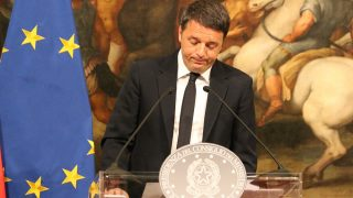 ITALY, Rome: Italian Prime Minister Matteo Renzi makes sad face during a speech to announce his resignation on December 5, 2016 at at Palazzo Chigi in Rome, Italy - after a constitutional referendum supported by him got rejected by voters. - Cosimo Martemucci