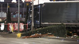 GERMANY, Berlin: The scene after a truck crashes into a crowded Christmas market at Breitscheidplatz in Berlin-Charlottenburg on the evening of Monday, December 19, 2016. At least 12 people are killed and dozens are injured. Authorities are investigating it as a possible terrorism attack. - S.A. Struck