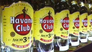 Bottles of Havana Club rum are seen in  Scandlines Border Shop at ferry dock in Puttgarden, Germany, at 3rd July 2013