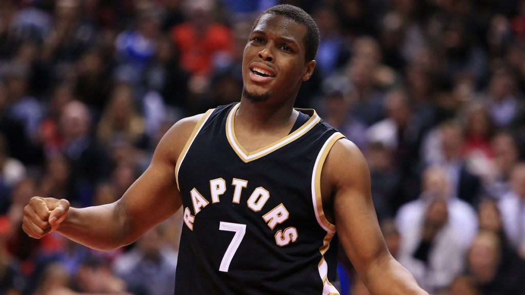 TORONTO, ON - NOVEMBER 16: Kyle Lowry #7 of the Toronto Raptors reacts during the second half of an NBA game against the Golden State Warriors at Air Canada Centre on November 16, 2016 in Toronto, Canada. NOTE TO USER: User expressly acknowledges and agrees that, by downloading and or using this photograph, User is consenting to the terms and conditions of the Getty Images License Agreement.   Vaughn Ridley/Getty Images/AFP