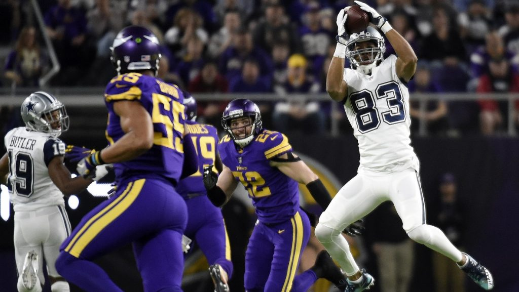 MINNEAPOLIS, MN - DECEMBER 1: Terrance Williams #83 of the Dallas Cowboys catches the ball in the second half of the game against the Minnesota Vikings on December 1, 2016 at US Bank Stadium in Minneapolis, Minnesota.   Hannah Foslien/Getty Images/AFP