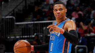 ATLANTA, GA - DECEMBER 05: Russell Westbrook #0 of the Oklahoma City Thunder calls out to his teammates against the Atlanta Hawks at Philips Arena on December 5, 2016 in Atlanta, Georgia. NOTE TO USER User expressly acknowledges and agrees that, by downloading and or using this photograph, user is consenting to the terms and conditions of the Getty Images License Agreement.   Kevin C. Cox/Getty Images/AFP