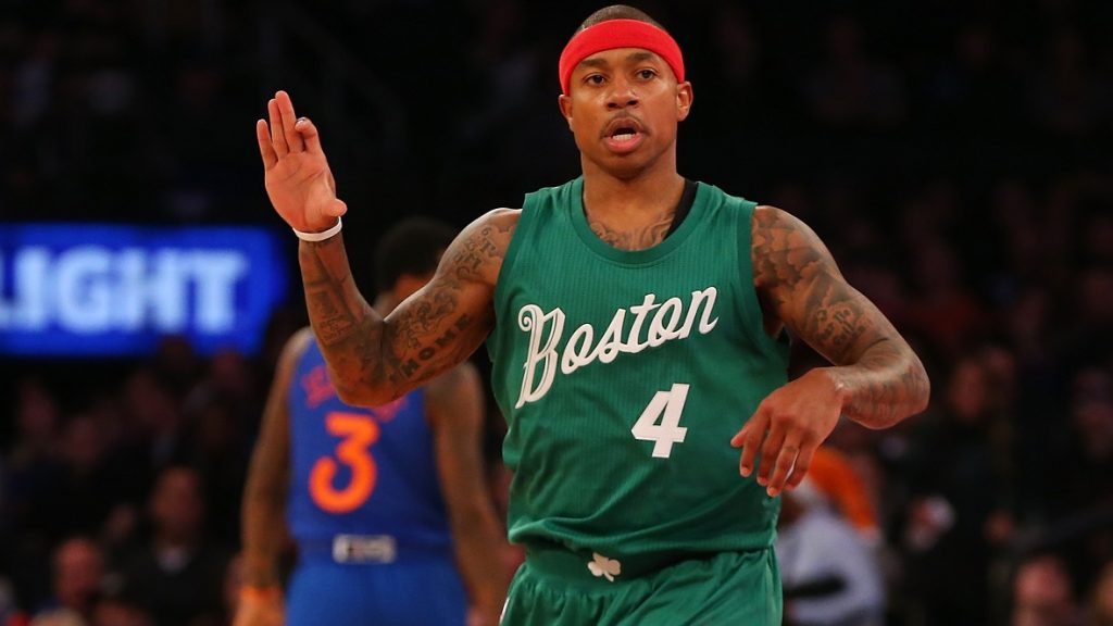 NEW YORK, NY - DECEMBER 25: Isaiah Thomas #4 of the Boston Celtics reacts after hitting a three pointer against the New York Knicks at Madison Square Garden on December 25, 2016 in New York City. NOTE TO USER: User expressly acknowledges and agrees that, by downloading and or using this photograph, User is consenting to the terms and conditions of the Getty Images License Agreement.   Mike Stobe/Getty Images/AFP