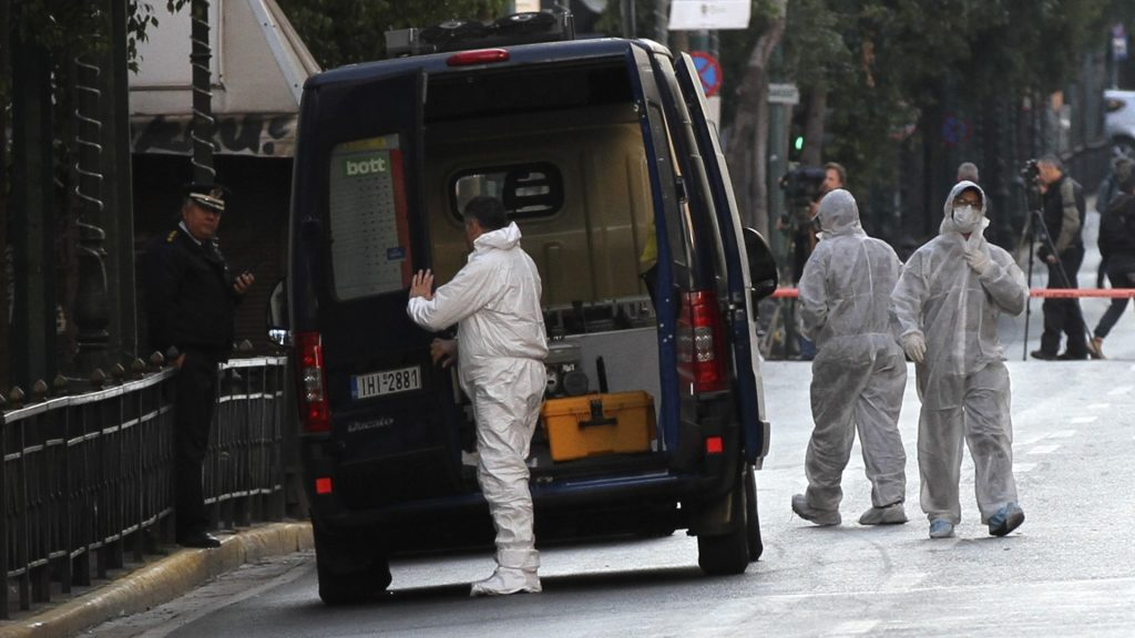 ATHENS, GREECE - NOVEMBER 12 :  Greek police officers detonate an explosive device that had been left outside the labor ministry in central Athens, Greece on December 12, 2016.   Ayhan Mehmet / Anadolu Agency