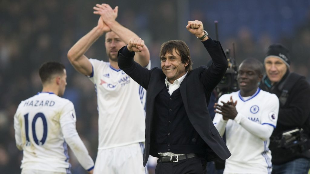 LONDON, ENGLAND - DECEMBER 17: Chelsea manager Antonio Conte celebrates his sides victory at full time of  the Premier League match between Crystal Palace and Chelsea at Selhurst Park on December 17, 2016 in London, England. (Photo by Craig Mercer - CameraSport via Getty Images)