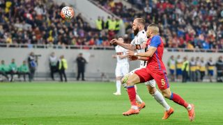 Jugurtha Hamroun #5 of FC Steaua Bucharest and Ante Puljic #6 of Dinamo Bucharest  during the LPF - Football Ligue 1 Romania Play Offs game between  Steaua Bucharest (ROU) vs FC Dinamo Bucharest (ROU) at National Arena Stadium in Bucharest, Romania ROU, on April 10, 2016.  (Photo by Catalin Soare/NurPhoto)
