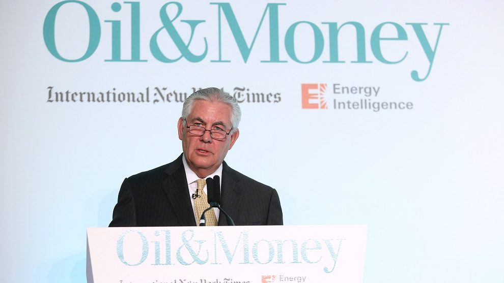 Rex Tillerson, chief executive officer of Exxon Mobil Corp., speaks during the Oil and Money 2015 conference in London, U.K. on Wednesday, Oct. 7, 2015. Oil's gain halted above $46 a barrel before U.S. government data forecast to show crude stockpiles in the world's largest consumer expanded for a second week. Photographer: Chris Ratcliffe/Bloomberg via Getty Images