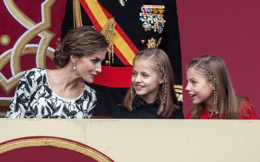 MADRID, SPAIN - OCTOBER 12: Queen Letizia of Spain, Princess Leonor (2L) and Princess Sofia attend the National Day Military Parade 2016 on October 12, 2016 in Madrid, Spain. (Photo by Europa Press/Europa Press via Getty Images)