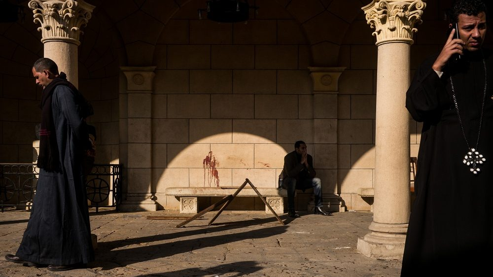 CAIRO, EGYPT - DECEMBER 11:  Blood stains the wall in the courtyard at the site of the bombing on December 11, 2016 in Cairo, Egypt. A bomb exploded inside the Saint Mark's Coptic Orthodox Cathedral of Abbassia with wounded and killed during morning mass. (Photo by David Degner/Getty Images)