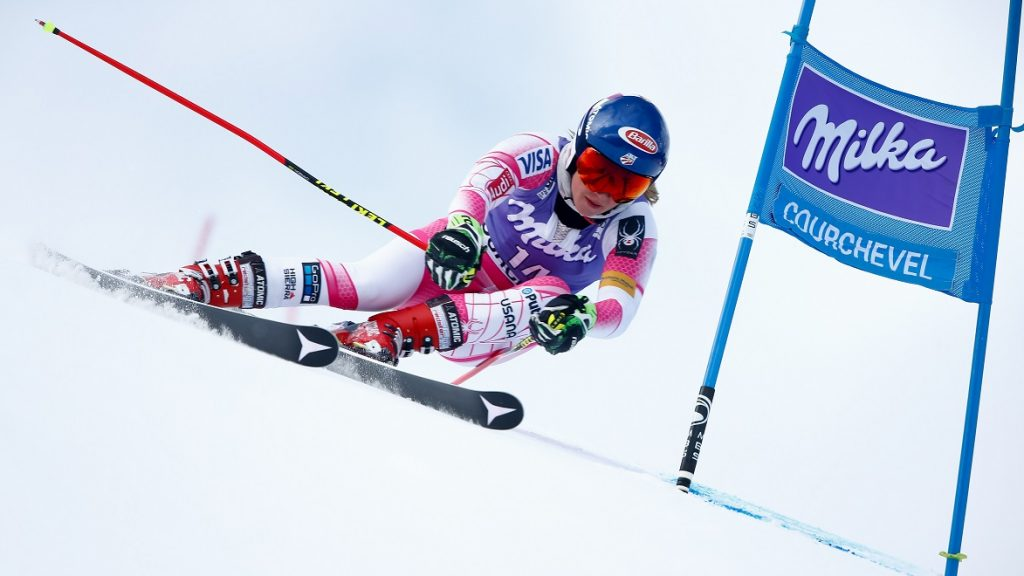 COURCHEVEL, FRANCE - DECEMBER 20: Mikaela Shiffrin of USA competes during the Audi FIS Alpine Ski World Cup Women's Giant Slalom on December 20, 2016 in Courchevel, France (Photo by Christophe Pallot/Agence Zoom/Getty Images)