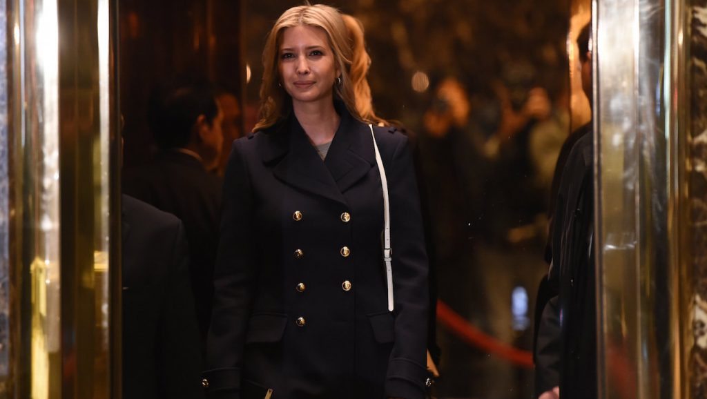 Ivanka Trump, daughter and part of the executive committee of US President-elect Donald Trump's transition team arrives at Trump Tower on another day of meetings on November 21, 2016 in New York. / AFP PHOTO / TIMOTHY A. CLARY