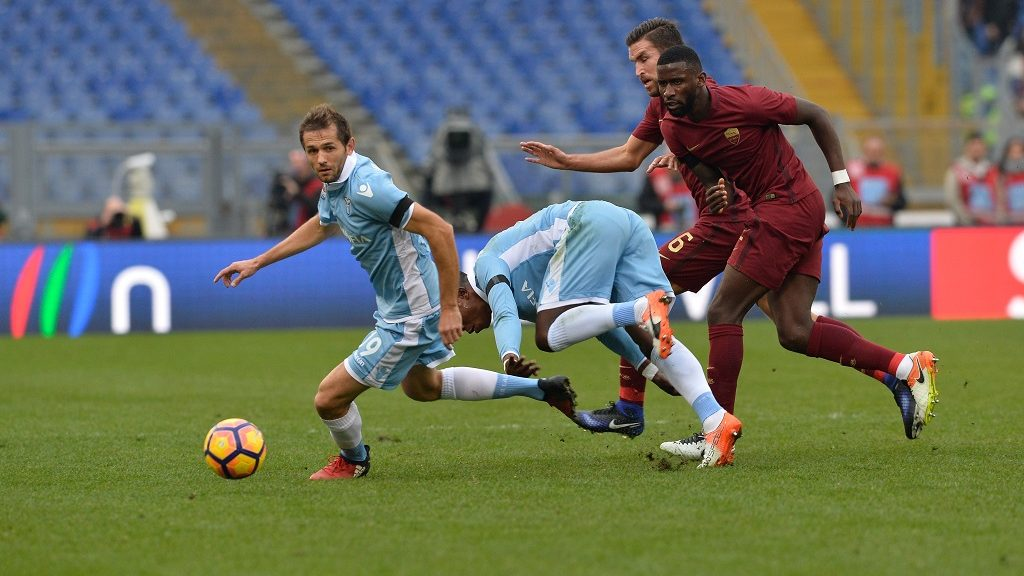 Senad Lulic, Antonio Rudiger during the Italian Serie A football match between S.S. Lazio and A.S. Roma at the Olympic Stadium in Rome, on december 04, 2016. (Photo by Silvia Lore/NurPhoto)
