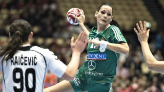 RESTRICTED TO EDITORIAL USE  Hungary's Anita Goerbicz in action during the World Women's Handball Championship group A match between Montenegro and Hungary in Herning, Denmark, on December 8, 2015. AFP PHOTO / SCANPIX DENMARK / Henning Bagger ++DENMARK OUT / AFP PHOTO / SCANPIX DENMARK / HENNING BAGGER