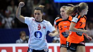 Norway's Nora Mork celebrates scoring during the Women's European Handball Championship final match between the Netherlands and Norway in Gothenburg, Sweden on December 18, 2016. / AFP PHOTO / TT NEWS AGENCY AND TT News Agency / Bjorn LARSSON ROSVALL / Sweden OUT