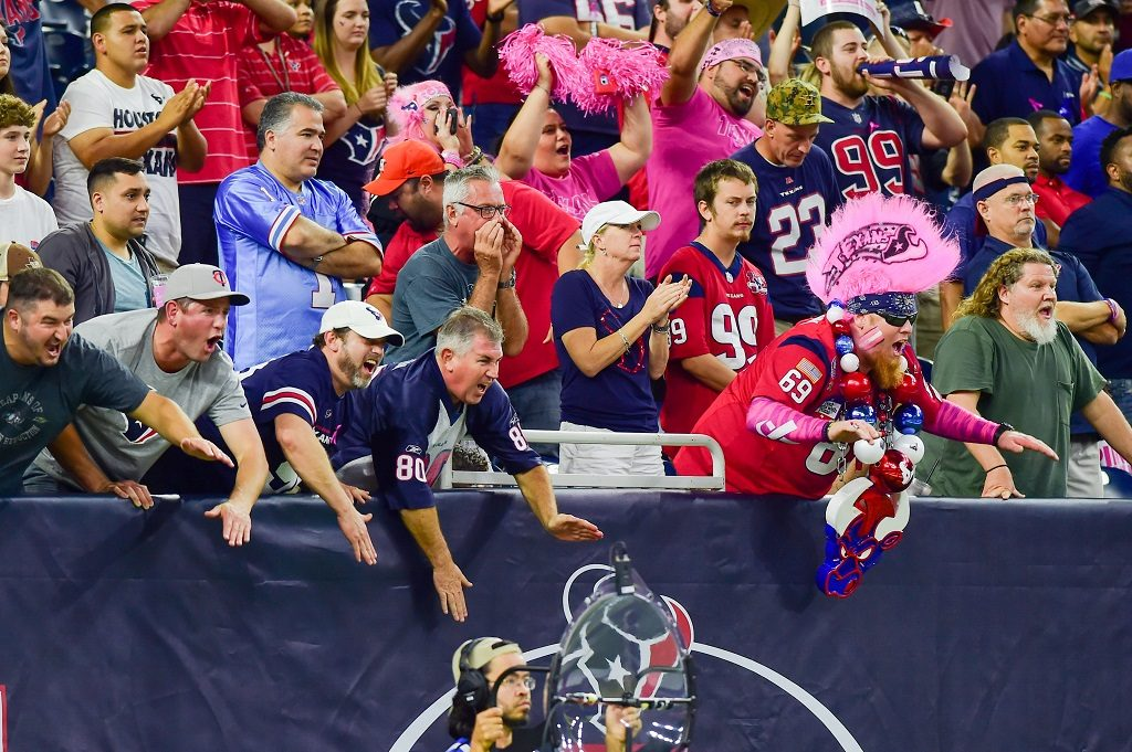 16 October, 2016: Rowdy Texans fans during OT during the NFL game between the Indianapolis Colts and Houston Texans at NRG Stadium, Houston, Texas. (Photo by Ken Murray/Icon Sportswire via Getty Images)