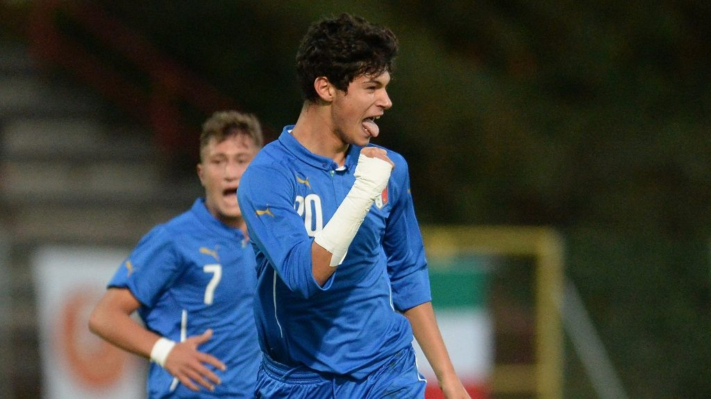 ODERZO, ITALY - OCTOBER 20:  Pietro Pellegri of Italy U16 celebrates after scoring his opening goal during the international friendly match between Italy U16 and Turkey U16 at Stadio Opitergium on October 20, 2015 in Oderzo, Italy.  (Photo by Dino Panato/Getty Images)