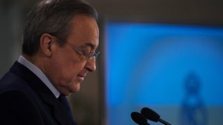 Real Madrid president Florentino Perez  speaks to the media after Cristiano Ronaldo's signed a contract renewal until 2021 for Real Madrid FC at Santiago Bernabeu Stadium on November 7, 2016 in Madrid, Spain. (Photo by Isa Saiz/NurPhoto)