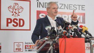 Bukarest, 2016. december 11.Liviu Dragnea, a román Szociáldemokrata Párt (PSD) elnöke nyilatkozik a sajtó képviselőinek Bukarestben 2016. december 11-én, a parlamenti választásokat követően. Az első becslések szerint az eddigi legnagyobb frakcióval rendelkező PSD fölényesen, a voksok csaknem 46 százalékát megszerezve nyerte meg a romániai parlamenti választásokat. (MTI/AP/Vadim Ghirda)