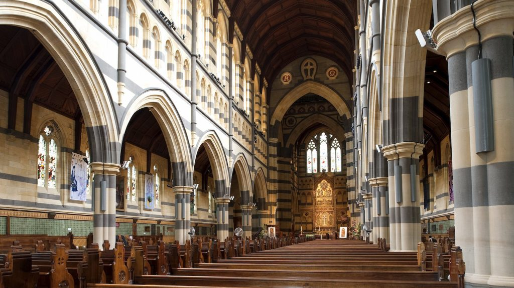 Australia, Victoria, Melbourne, Federation Square and Saint Paul Cathedral neogothic style, the nave