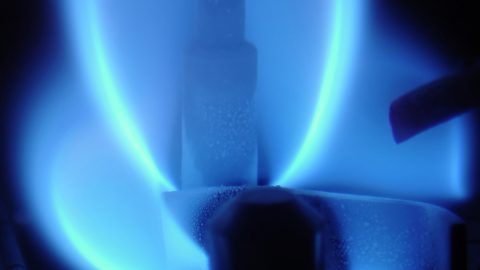 Gas flame inside the gas boiler