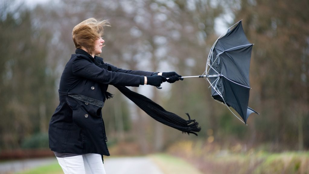 A young woman is fighting against the storm with her umbrella