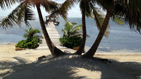 A view from the beach on Ambergris Caye in Belize
