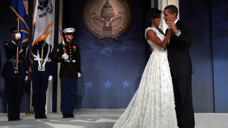 WASHINGTON - JANUARY 20:  U.S President Barack Obama and his wife First Lady Michelle Obama dance on stage during MTV & ServiceNation: Live From The Youth Inaugural Ball at the Hilton Washington on January 20, 2009 in Washington, DC. President Barack Obama was sworn in as the 44th President of the United States today, becoming the first African-American to be elected President of the US.  (Photo by Mark Wilson/Getty Images)