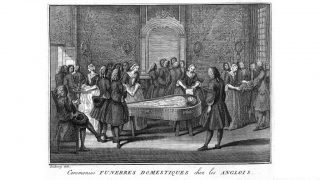 L0006640 Funeral Scene Credit: Wellcome Library, London. Wellcome Images images@wellcome.ac.uk http://wellcomeimages.org Funeral Scene The ceremonies and religious customs of the known world Bernard Picart Published: 1737  Copyrighted work available under Creative Commons Attribution only licence CC BY 4.0 http://creativecommons.org/licenses/by/4.0/