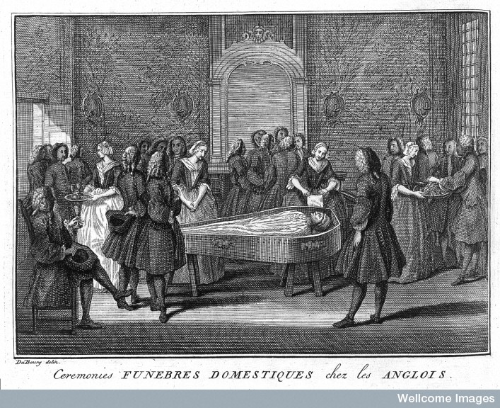 L0006640 Funeral Scene Credit: Wellcome Library, London. Wellcome Images images@wellcome.ac.uk //wellcomeimages.org Funeral Scene The ceremonies and religious customs of the known world Bernard Picart Published: 1737  Copyrighted work available under Creative Commons Attribution only licence CC BY 4.0 //creativecommons.org/licenses/by/4.0/