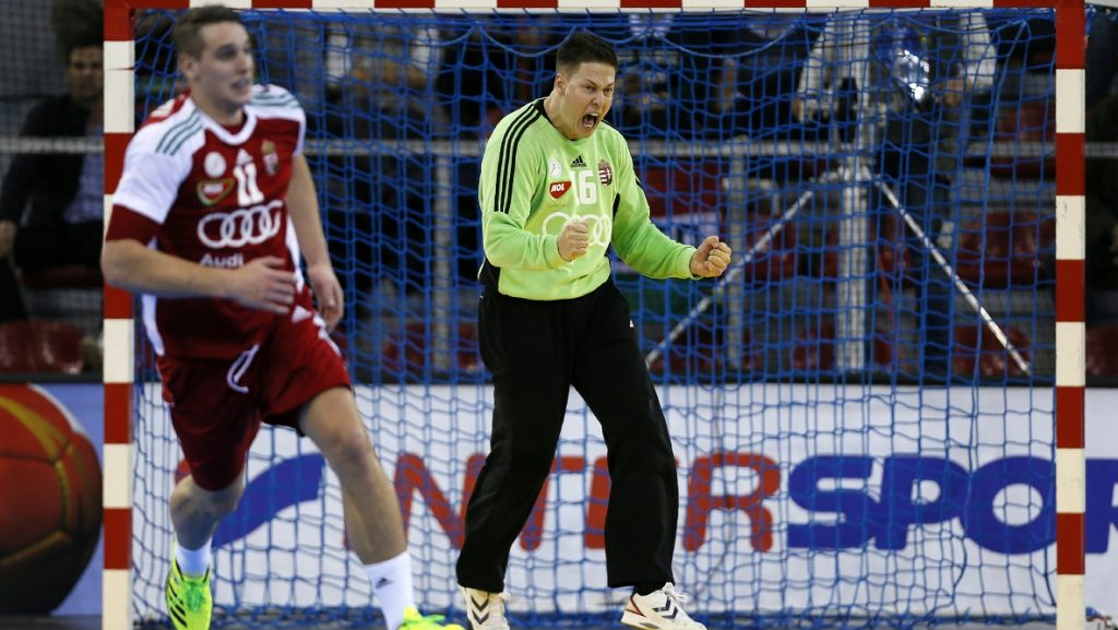 Hungary's goalkeeper Roland Mikler celebrates after deflecting a shot during the 25th IHF Men's World Championship 2017 Group C handball match Germany vs Hungary on January 13, 2017 at the Kindarena in Rouen. / AFP PHOTO / CHARLY TRIBALLEAU