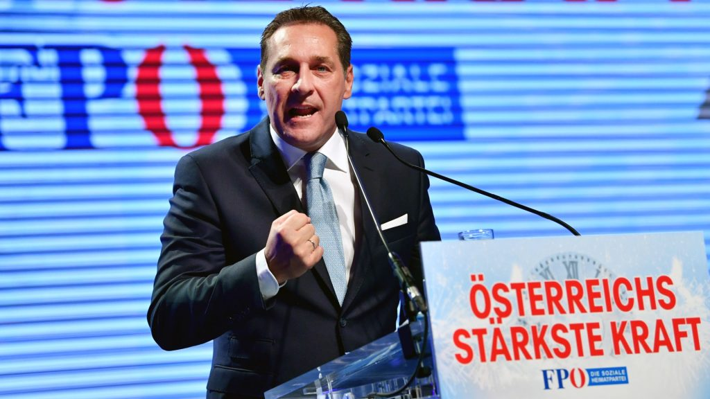 Heinz-Christian Strache, chairman of Austria's far-right Freedom Party FPOE, gives a speech during his party's New Year's convention on January 14, 2017 in Salzburg, Austria. / AFP PHOTO / APA / BARBARA GINDL / Austria OUT